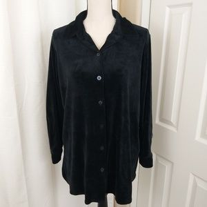 Woman Within Velour Button Shirt M (14-16)